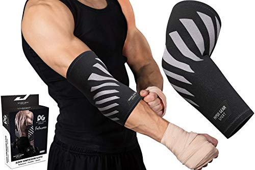 a02dab7ed0 Physix Gear Elbow Brace for Tendonitis - Best Compression Arm Sleeve,  Tennis Elbow Brace &