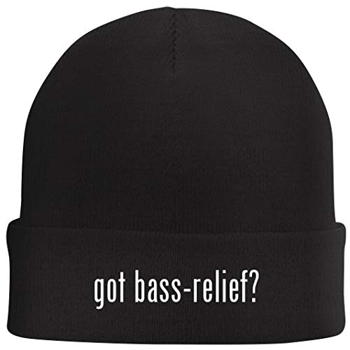 got Bass-Relief? - Beanie Skull Cap with Fleece Liner, Black
