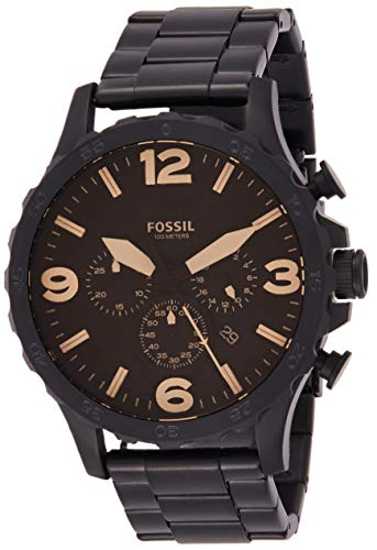 Fossil Men's Nate Quartz Stainless Steel Chronograph Watch, Color: Black (Model: JR1356) from Fossil