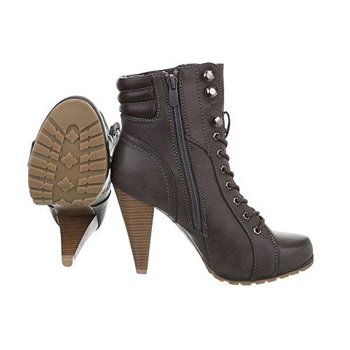 Zapatos para mujer Botas Tac—n de aguja Botines de tac—n Ital-Design Marr—n Gris