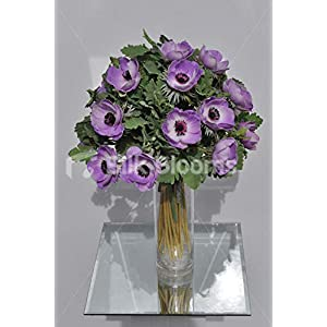 Silk Blooms Ltd Artificial Purple Anemone and Green Lambsear Floral Arrangement w/Clear Cylinder Vase 61