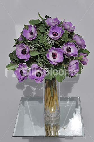 Silk-Blooms-Ltd-Artificial-Purple-Anemone-and-Green-Lambsear-Floral-Arrangement-wClear-Cylinder-Vase