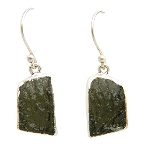 Fundamental Rockhound: Moldavite Gemstone Sterling Silver Earrings