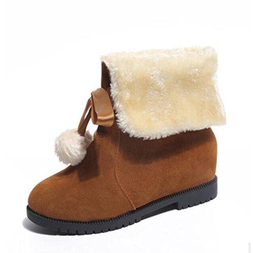 cuero rojo Botas Confort de mujer Negro botines Red Botines Zapatos HSXZ Plano Casual Toe Nappa Invierno de redondeado Otoño Marrón UtqqpWwB