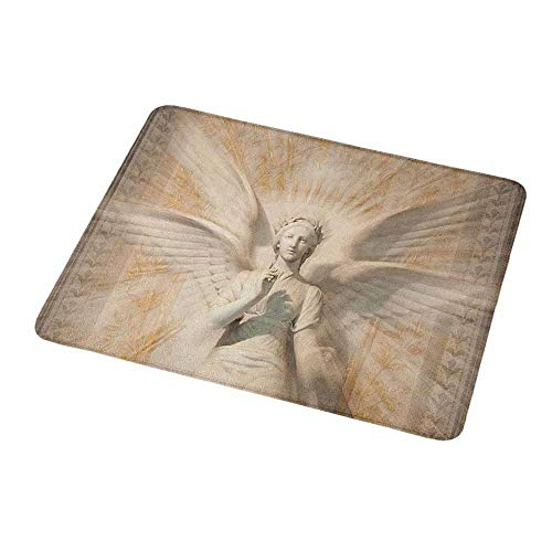 Mouse Pad Sculptures,Statue of Angel Woman in Medieval Cathedral Site Vintage Style Mythical Design,Yellow White,Non-Slip Thick Rubber Mousepad Mat 9.8