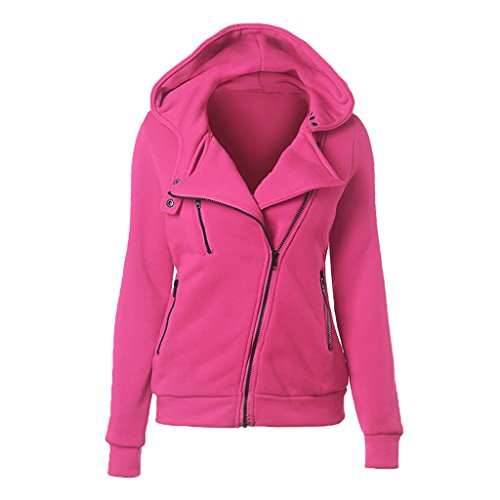 Women Slim fit Zip-up Hoodie Jacket Cardigan 2xl Rosered