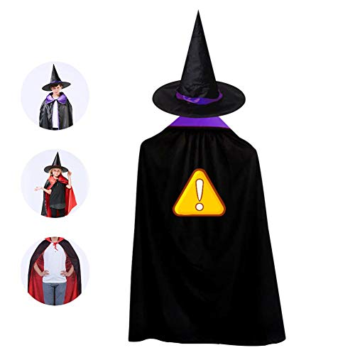 Exclamatory Mark Art Cloak Wizard Witch Cape With Hat Cap Reversible Shawl Robe For Kid Halloween Party Cosplay Costume
