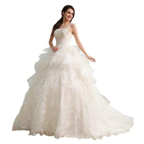 Court Ivory Train One Wedding Shoulder Women's Gown Dresses Sleeveless Dearta Ball BWwxHAqYWT