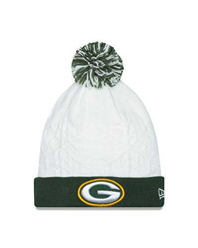 NFL Green Bay Packers Women's Snow Crown Knit Cap, One Size, White