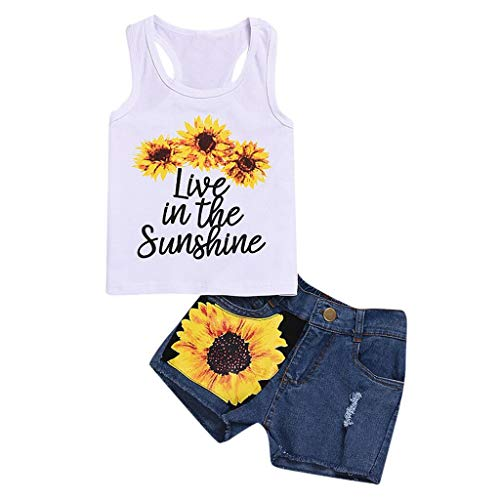 Infant Little Girls Tank Tops Clothes Set - Toddles Kids Letter Floral Print Sleeveless T Shits + Sunflower Denim Shorts Pants - 2PC Summer Outfits Sets (6-7 Years, White B)