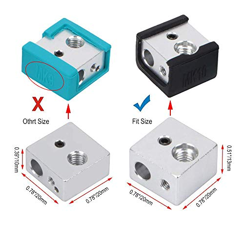 MK10 Heater Block Silicone Cover Hotend Protection for Wanhao i3 Mini Creator Monoprice V2 FYSETC 3D Printer MK10 Silicone Socks Blue+Black 4 Pcs