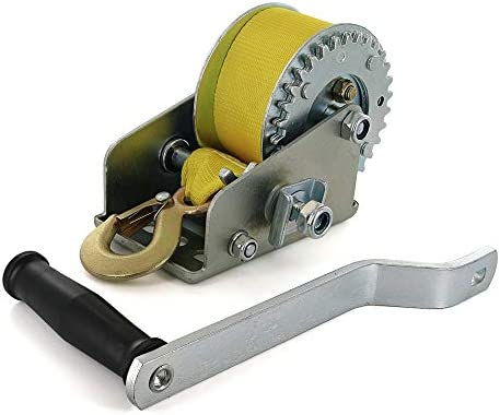 Ram-Pro Hand Winch Heavy Duty Hand Crank Strap Jet Ski Steel Strap Gear  Wire Boat Trailer with Hook Comfort Grip Pulling Winch Handle Cable Winch  1200