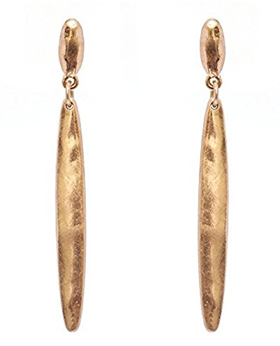 Gold Tone Metal Earrings (Women's Hammered Metal Bar Dangle Pierced Earrings,Gold-Tone)