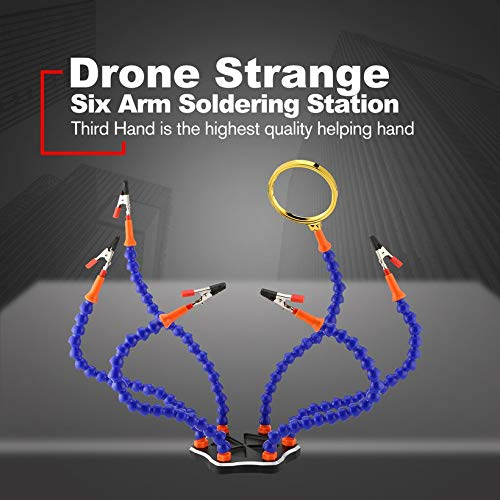Drone Strange Third Hand Six Arm Soldering Station with USB Fan Magnifier