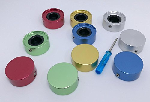 3pdt 10 pcs Footswitch Stomp Pedal Switch Aluminum Top Cap Topper Assortment, gold, blue, silver, green, red by 3pdt (Image #1)