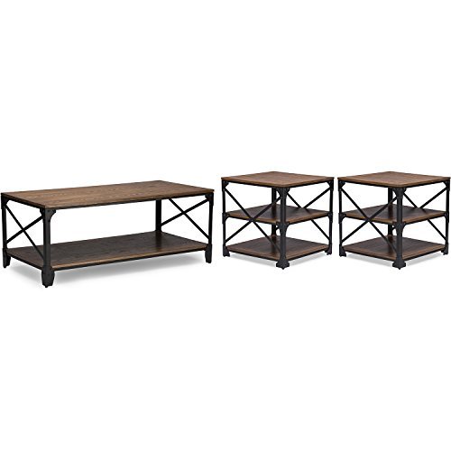 - Baxton Studio Wholesale Interiors Greyson Vintage Industrial Round Coffee Cocktail Table and End Tables 3 Piece Occasional Table Set, Antique Bronze