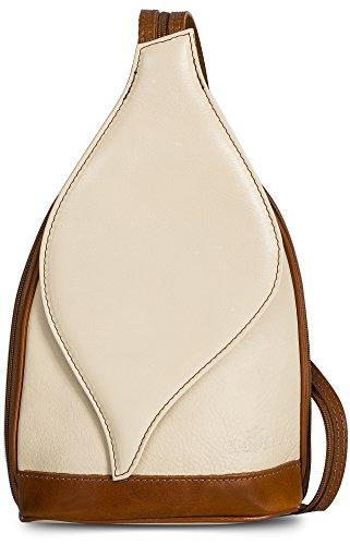 sac 'Kim' italien Crème en à à 1 bords type dos caramel 2 LiaTalia cuir autentique et main sac par porté en en feuille Petit épaule transformable Ouverture magnétique vwa1q1