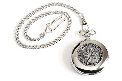 Celtic Pocket Watch Classic Style Shamrock Design Pewter Made in Ireland Biddy Murphy
