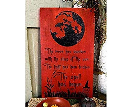 WoodenSign 45x30cm The Spell Halloween Hexe Dekor Hexe Deko Modern Hexe Holz Schild Hexen Landhaus Home Decor Gruselige heidnische Kunst Wand Hexe -
