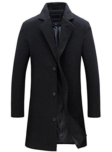 Benibos Mens Trench Coat Slim Fit Notched Collar Overcoat (M, (Collar Coat)