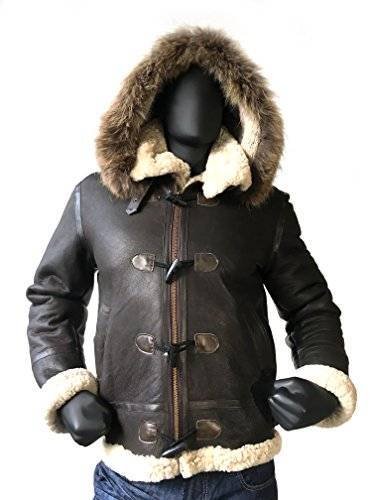 Shearling Toggle Jacket (Men B-3 Genuine Shearling Leather Bomber Jacket Winter Aviator Coat Real Fur Hood and wood toggle closure (X-Large, Brown))