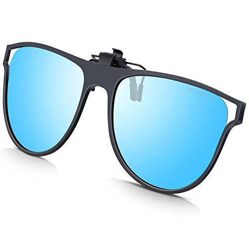 TOREGE Polarized Clip-on Flip up Rubber Clip Sunglasses For Driving Fishing T001 T015-Blue