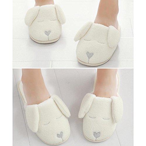Eastlion Home Non-slip Slippers Silent Floor Ladies Comfortable Lovely Cartoon Dog Warm Slippers White QHvCiUKa