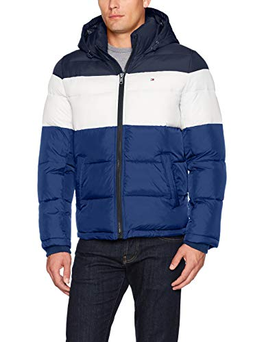 Tommy Hilfiger Men's Classic Hooded Puffer Jacket, Bluebell Combo, Medium