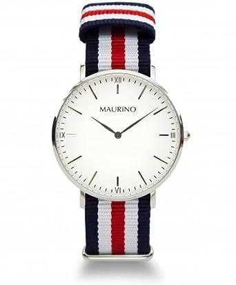 MAURINO Herren Armbanduhr Analog Quarz Textil Silber 40mm M01614