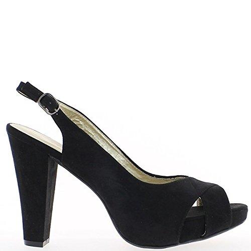 Aspetto grande di donne sandali in camoscio nero aprire tacco 11,5 cm