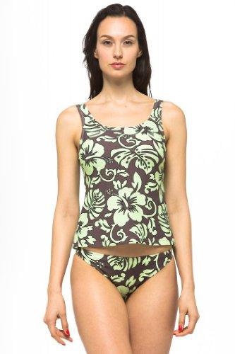 Private Island Hawaii UV Women Tankini Top Under Bra Brown with Green - Female Brown Green