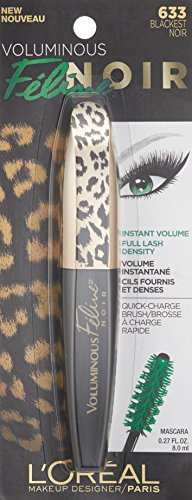 L'Oreal Paris Voluminous Feline Noir Washable Mascara, Blackest Noir 0.27 oz
