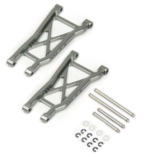Atomik RC Traxxas Slash 2WD 1:10 Aluminum Alloy Rear Lower Arm Hop Up Upgrade, Grey/Gun Metal Replaces Traxxas Part 2555