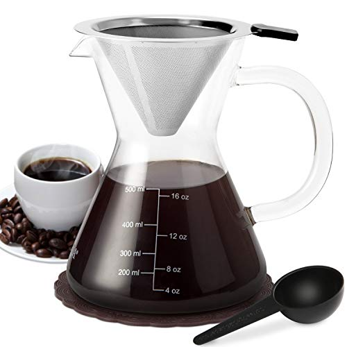 Secura Pour Over Coffee Dripper, 17 oz, Glass Coffeemaker with Stainless Steel Filter