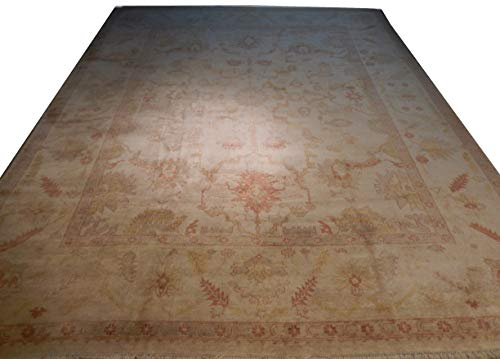 (Ivory Handmade 12x15 Oushak Gold & Rust Accent Semi-Antique Wool)
