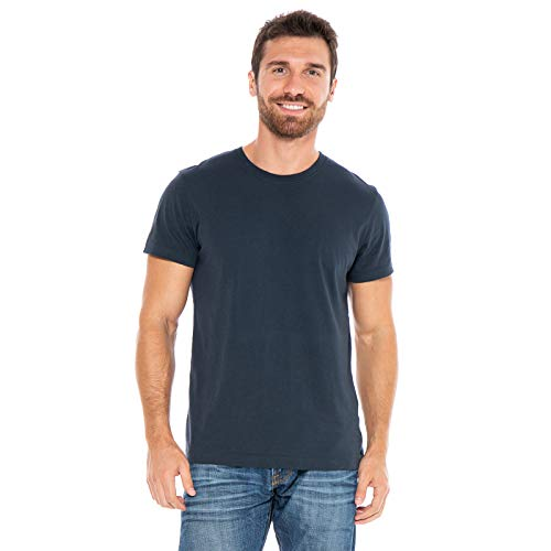 Men's Designer T-Shirt Lightweight Semi Fit Short Sleeve Crew Neck Organic Cotton Pre-Shrunk Embroidered - Made in USA (Small, Blue)