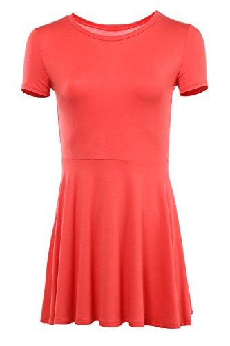 Nicole Slip Bra (Karies Women's Short Sleeve Round Neck Flared Skater Dress Coral XL)
