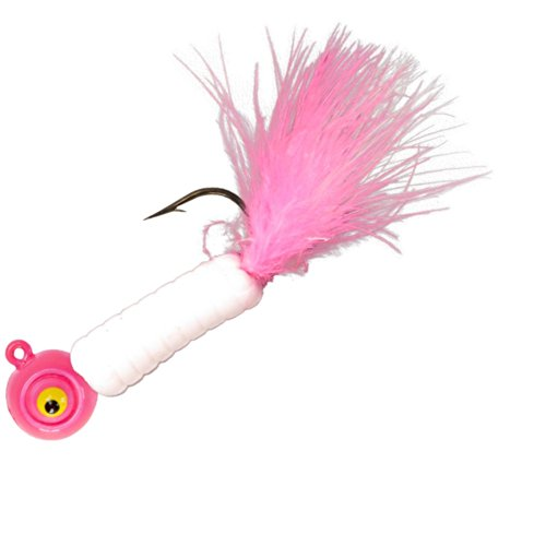 Lindy Fuzz-E Grub Jigs - Pink White - 2 in - 1/4 oz