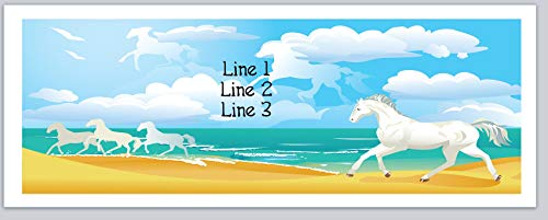 150 Personalized Address Labels White Horses Running at a Scenic Beach (c 665) ()