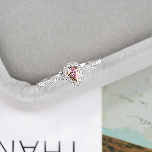 Pink pear diamond engagement ring bridal ring Pink diamond ring bezel set halo set diamonds half eternity ring Micro pave diamond ring Stacking Promise ring