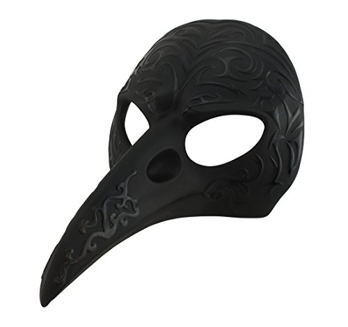 Veronese Resin Wall Sculptures Black Patterned Crow Beak Carnival Mask Wall Hanging 8.5 X 5 X 6.5 Inches -