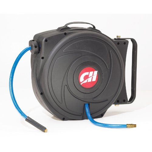 Air Hose Reel with Retractable 50 Foot Hose, 3/8 Inch ID, Mountable, Swivel Bracket, Lightweight, 300 PSI (Campbell Hausfeld PA500400AV) - Hose Reel Mounting