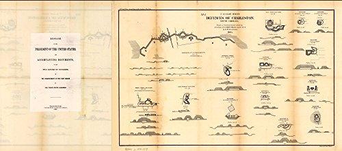 1865 map Defences of Charleston, South Carolina Size 10x24 - Ready to Frame  Charleston Region Charleston Region SC Civil War Fortification History South Carolina  (South Pottery Barn Carolina)