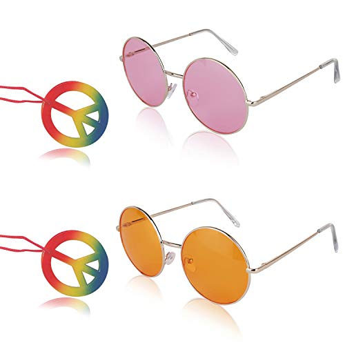 Sunny Pro Big Round Sunglasses Retro Circle Pink Orange Hippie Peace]()