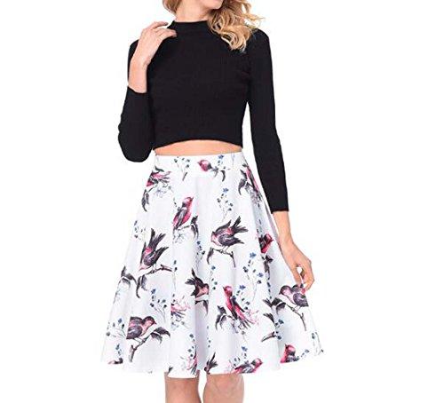 XIAOXAIO Taille L pour Blanc plisse Haute Jupe Taille HEFEI Femme Couleur qYvwz44