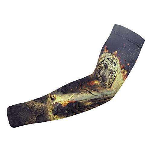- White Tiger with Fire UV Protection Arm Sleeves for Men Women Fit Sport Fitness-1Pair