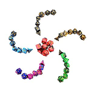 iFergoo 6 x 7 (42 Pieces) Polyhedral Dice, Double Colors Polyhhedral Game Dice for Dungeons and Dragons DND RPG MTG Table Game