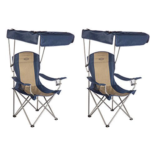 Kamp-Rite Camping Sun Shade Canopy Folding Lawn Chair (2 Pack)