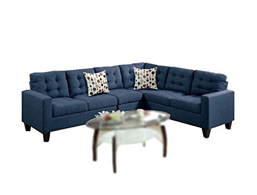"Modern Contemporary Polyfiber Fabric Modular Sectional Sofa (Blue) - Fusing the contemporary and classic design with this collection of 4-piece modular sectionals covered in soft linen-like polyfiber. With plush seating and back support, each piece is accented with asymmetrical tufting and stitching to enhance your living space. Compliment the sectional with two accent pillows. Perfect for living room with limited space. Overall dimension is approximately 107"" x 84"" x 35""H. Set includes: 1 of LAF one-arm loveseat 52"" x 32"" x 35"" H, 1 of Corner wedge 32"" x 32"" x 35"" H, 1 of RAF one-arm loveseat 52"" x 32"" x 35"" H, 1 of Armless chair 23"" x 32"" x 35"" H - sofas-couches, living-room-furniture, living-room - 41PQXJoLiZL -"