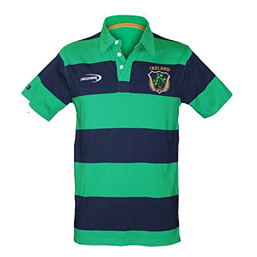 Carrolls Irish Gifts Emerald Green and Navy Striped Polo Shirt With Shamrock Crest Design